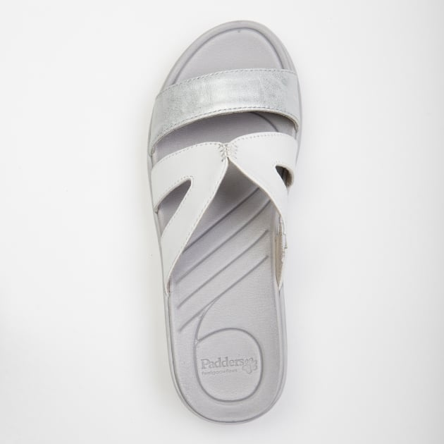 Padders Charlie White/Silver Sandals