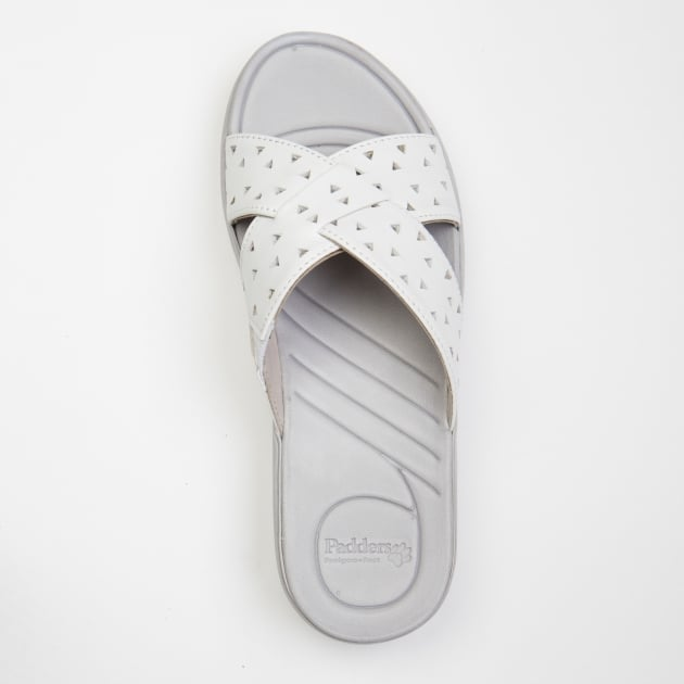 Padders Clara White/Silver Sandals