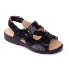 Padders Gem Black Reptile Sandals