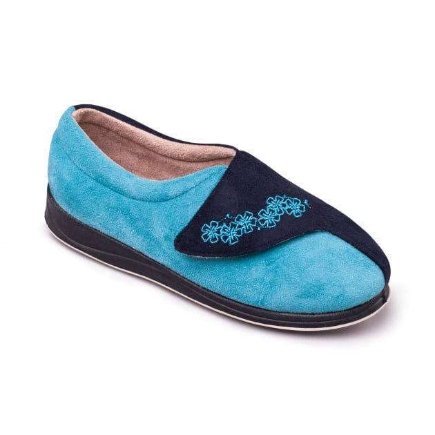 Padders Hug Ee Fit 424 Navy/Teal Slippers