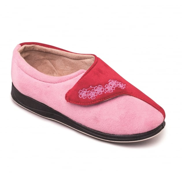 Padders Hug Ee Fit 424 Pink/Red Slippers