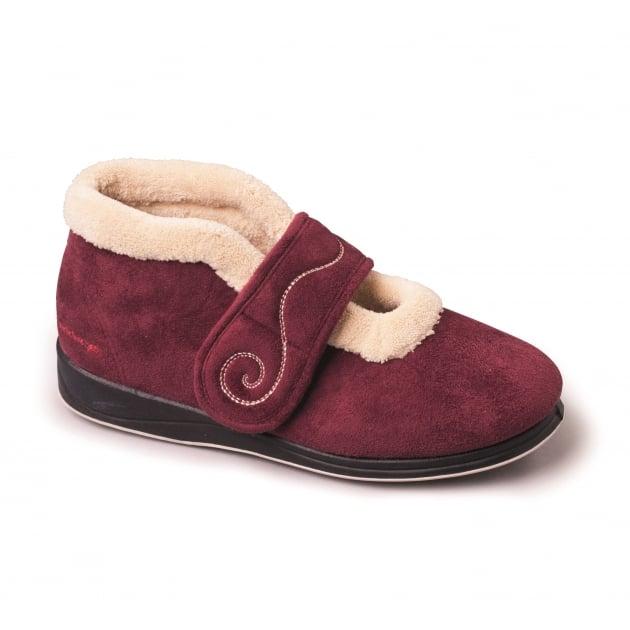 Padders Hush 409 - Ee Fit Burgundy Slippers