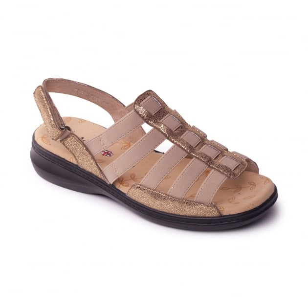 Padders Lesley Sparkle Gold Sandals