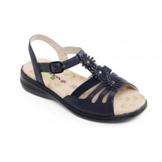 Padders Lizzy Navy Reptile Sandals