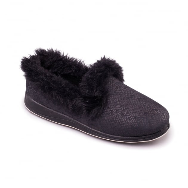 Padders Luxury Black Slippers