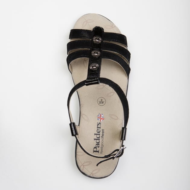 Padders Pearl Black Combination Sandals