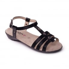 Padders Pearl Black Combination Sandals