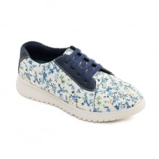 Padders Re Flower Navy Floral Shoes