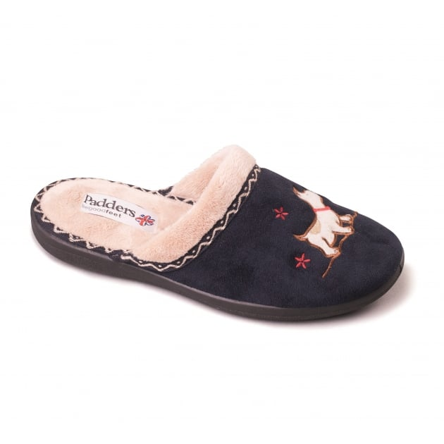 Padders Scotty 479 - Ee Fit Navy Slippers