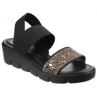 The Flexx Stretch Em Black Sandals