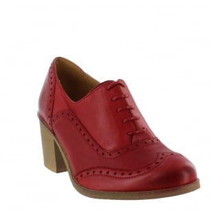 Marta Jonsson Womens Block Heeled Brogue 13035L Red Shoes