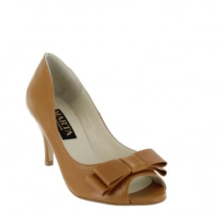 Marta Jonsson Womens Peep Toe Court Shoe 1518L Tan Shoes