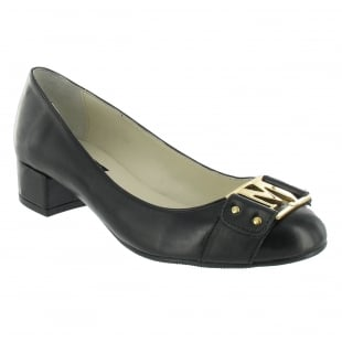 Marta Jonsson Court Shoe With Gold Mj Detail 2278L Black