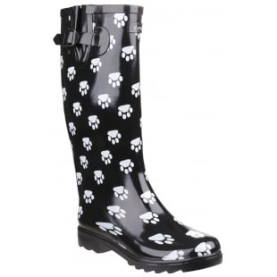 Cotswold Dog Paw Wellingtons Black