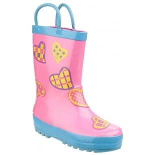 Cotswold Puddle Boot Hearts Girls