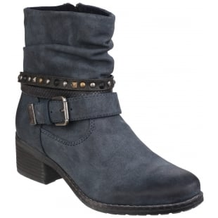 Divaz West Zip Up Ankle Boot Navy