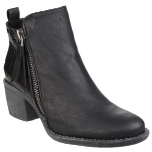 Divaz Dench Zip Up Ankle Boot Black