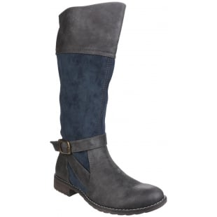 Divaz Garbo Zip Up Boot Navy