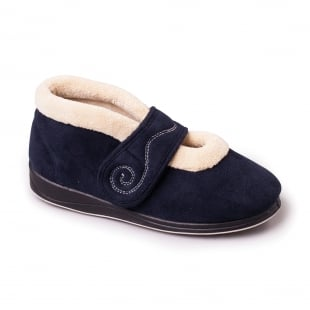 Padders Hush 409 - Ee Fit Navy Slippers