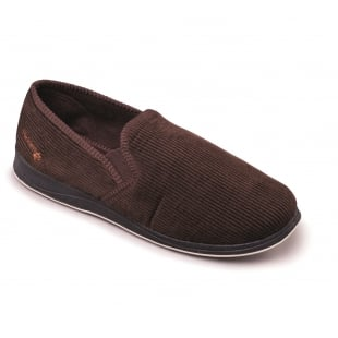 Padders Albert 408S*02 - G Fit Brown Cord Slippers