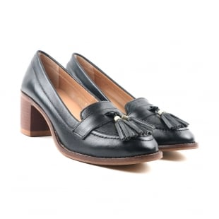 Carlton London Cai Black Heeled Loafers
