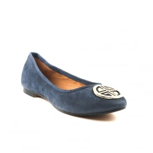 Carlton London Catrin Navy Suede Ballerina Shoes