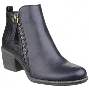 Divaz Dench Zip Up Ankle Boot Navy