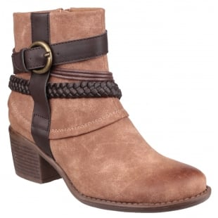 Divaz Vado Zip Up Ankle Boot Tan