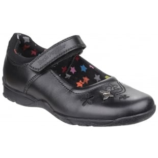Hush Puppies Clare Junior Girls Shoe-Black