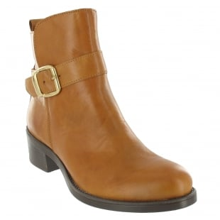 Marta Jonsson Ankle Boot With A Golden Buckle 3535L Tan