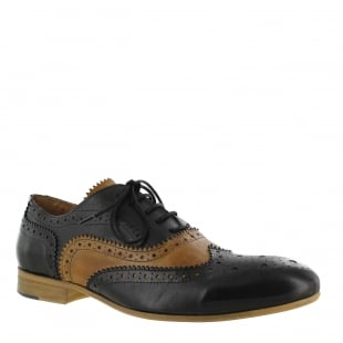 Marta Jonsson Mens Lace Up Classic Brogue J2348Le Black/Tan