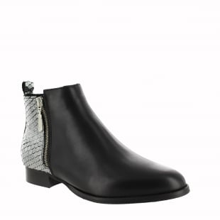Marta Jonsson Womens Ankle Boot With Zip 1090L Silver