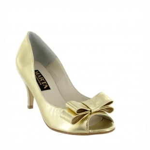Marta Jonsson Womens Peep Toe Court Shoe 1518L Gold