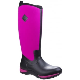 Muck Boots Arctic Adventure Pull On Wellington Boot - Black/Hot Pink