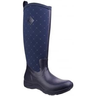 Muck Boots Arctic Adventure Pull On Wellington Boot - Navy Quilt
