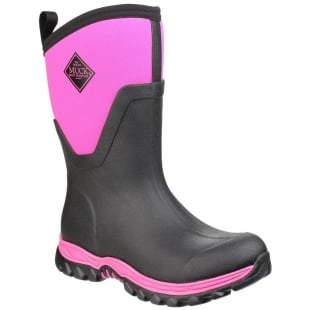 Muck Boots Arctic Sport Mid Pull On Wellington Boot - Black/Pink