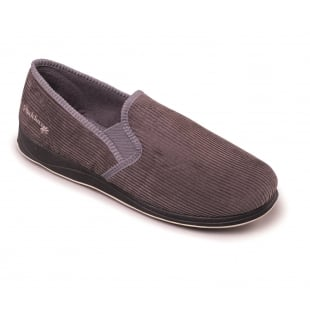 Padders Albert 408S*02 - G Fit Grey Cord Slippers