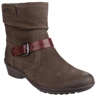 Rockport Raven Riley Waterproof Zip Up Ankle Boot Stone
