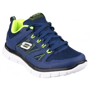 Skechers Flex Advantage Lace Up Boys Navy/Yellow