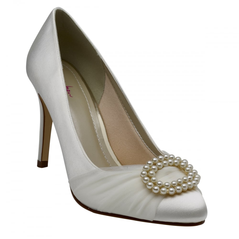 Rainbow Club Beatrice Ivory Pearl Brooch Court Shoes
