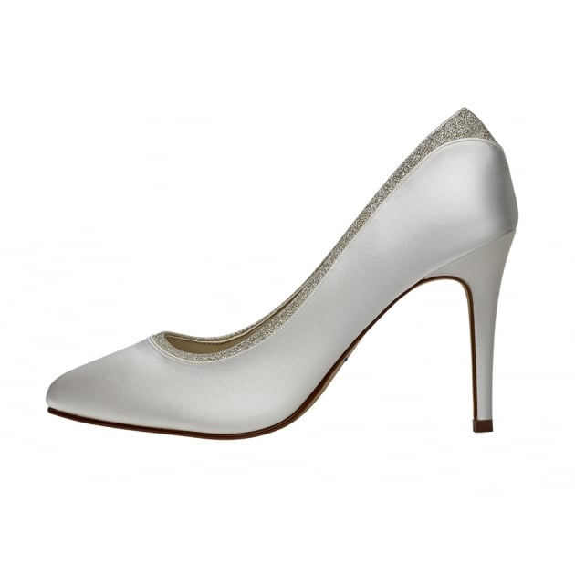 Rainbow Club Billie Ivory/Silver Shimmer Court Shoes