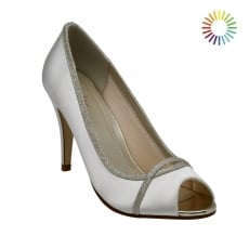 Rainbow Club Chelsey Ivory/Silver Shimmer Peep Toe Shoes
