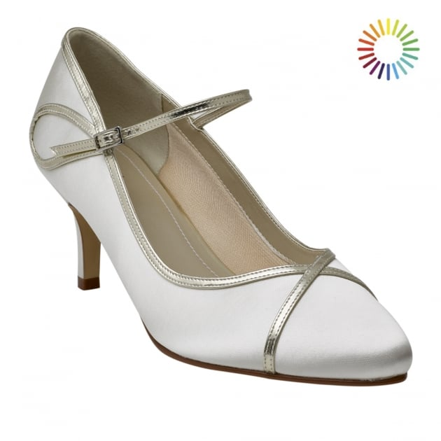 Rainbow Club Dorothy Ivory/Gold Overlay Court Shoes