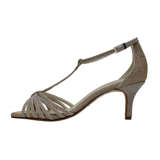 Rainbow Club Estelle Gold Metallic T-bar Sandal Shoes