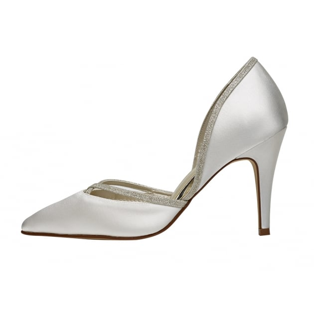Rainbow Club Georgia Ivory/Silver Satin Chic Court Shoes