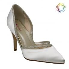 Rainbow Club Georgia Ivory/Silver Satin Chic Court Shoes