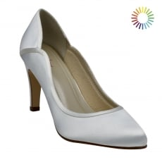 Rainbow Club Lucy White Satin Court Shoes