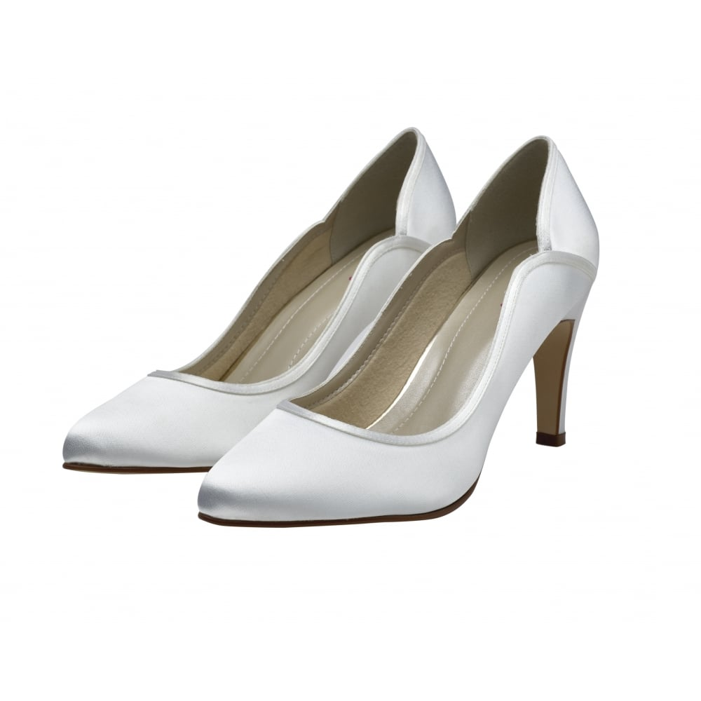 The definition of elegance, never underestimate the style of a really great court shoe. Lucy, in bright white satin is the ideal design for classic brides. These timeless wedding shoes feature a softly-pointed toe, slim, mid-height heel and are finished with a beautifully-curved silhouette trimmed with overlay satin.