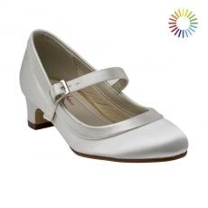 Rainbow Club Maisie Ivory Satin Girls Bar Shoes