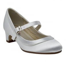 Rainbow Club Maisie White Satin Girls Bar Shoes